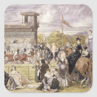 The Races at Longchamp in 1874 Square Sticker