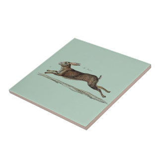 The Racing Hare at Easter Ceramic Tile
