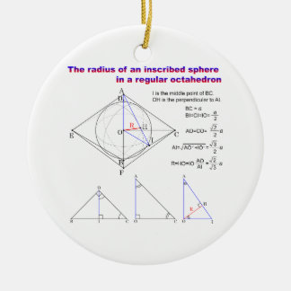 The radius of an inscribed sphere in octahedron Double-Sided ceramic round christmas ornament