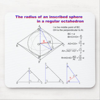 The radius of an inscribed sphere in octahedron mouse pad