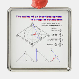 The radius of an inscribed sphere in octahedron square metal christmas ornament