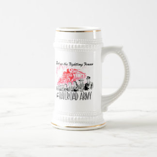 The Railroad Army - Back up the fighting Forces ! Beer Stein