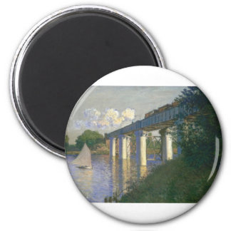 The Railway Bridge at Argenteuil (1874) 2 Inch Round Magnet
