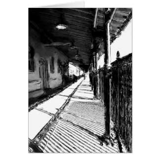 The Railway Station  black and white sketch Greeting Card