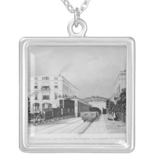 The railway station of the train Berlin-Potsdam Silver Plated Necklace
