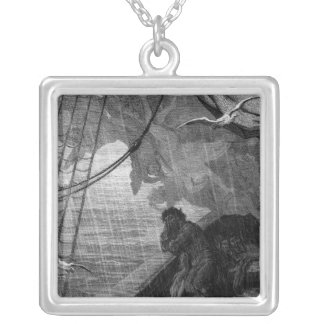 The rain begins to fall silver plated necklace