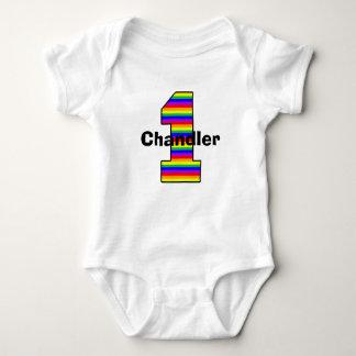 The Rainbow Striped First Birthday Girl Shirt