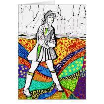 raincoat, fashion, girl, artsprojekt, woman, illustration, drawing, pop, modern, Card with custom graphic design