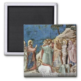 The Raising Of Lazarus By Giotto Di Bondone 2 Inch Square Magnet