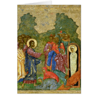The Raising of Lazarus, Russian icon Greeting Card