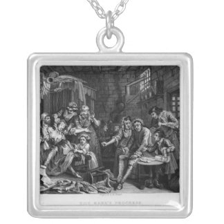 The Rake in Prison, plate VII Silver Plated Necklace