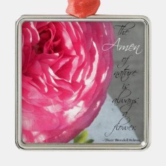 The Ranunculus Amen Flower Metal Ornament