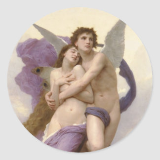The Rapture of Psyche by William Bouguereau Classic Round Sticker