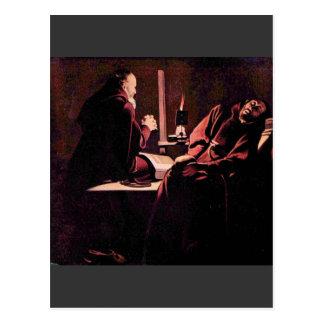 The rapture of St. Francis by Georges de La Tour Postcard