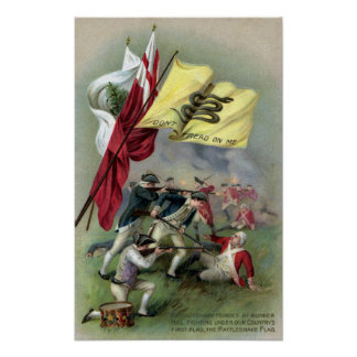 The Rattlesnake Flag at Bunker Hill Battle Poster