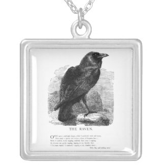 The Raven by Edgar Allen Poe Silver Plated Necklace