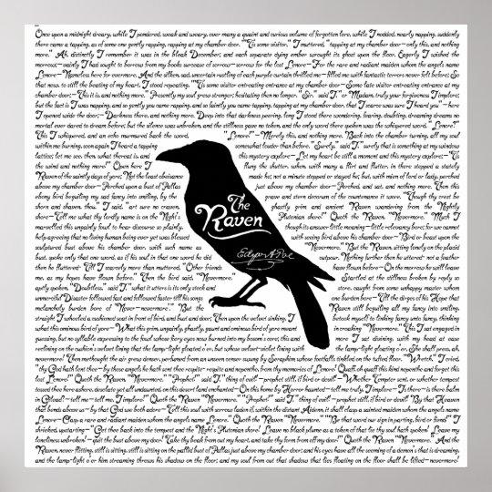 Extrêmement The Raven Complete Poem by Edgar Allan Poe Poster | Zazzle.com MA68