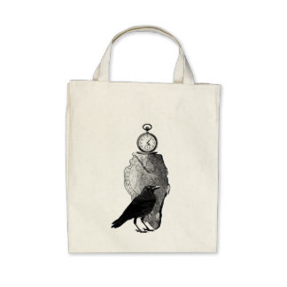 The Raven, Crow and runestone Canvas Bags