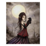 The Raven Gothic Fantasy Woman Wiccan Art Poster