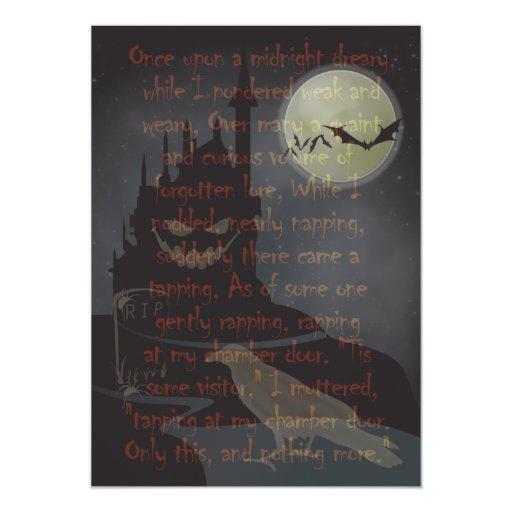"""The Raven"" Halloween Party Invitation 5"" X 7"" Invitation Card"