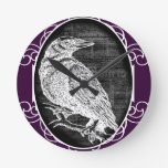 """""""The Raven"""" inspired graphic design Round Wall Clocks"""