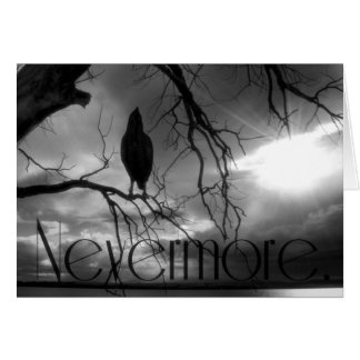 The Raven - Nevermore Sunbeams & Tree B&W Card
