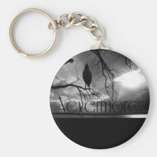 The Raven - Nevermore Sunbeams Tree B W Keychains