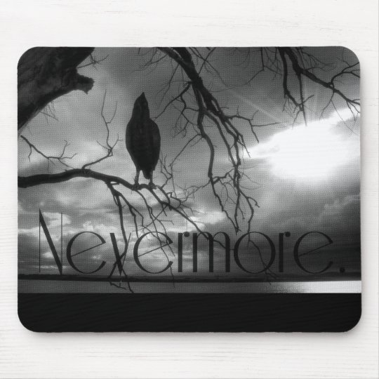 The Raven - Nevermore Sunbeams & Tree B&W Mouse Pad