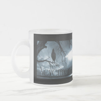 The Raven - Nevermore Sunbeams & Tree Blue 10 Oz Frosted Glass Coffee Mug