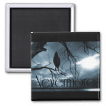 The Raven - Nevermore Sunbeams & Tree Blue 2 Inch Square Magnet