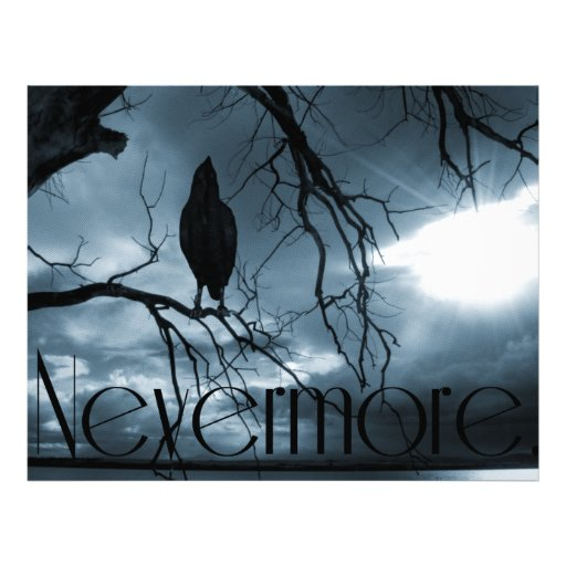 "The Raven - Nevermore Sunbeams & Tree Blue 8.5"" X 11"" Flyer"