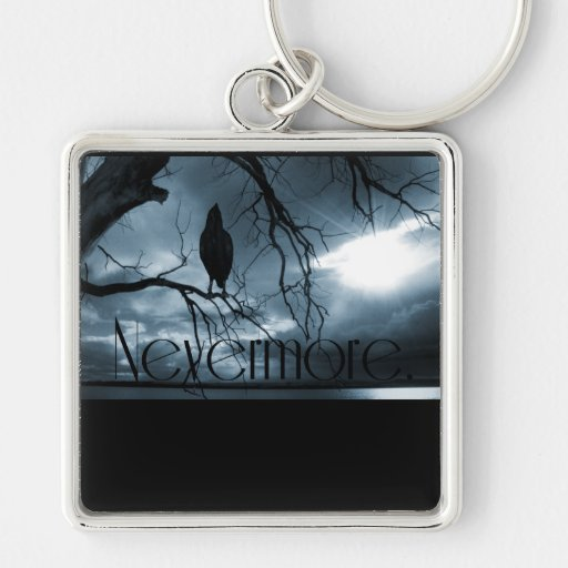 The Raven - Nevermore Sunbeams & Tree Blue Keychains