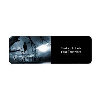 The Raven - Nevermore Sunbeams & Tree Blue Custom Return Address Label