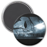 The Raven - Nevermore Sunbeams & Tree Blue Fridge Magnets