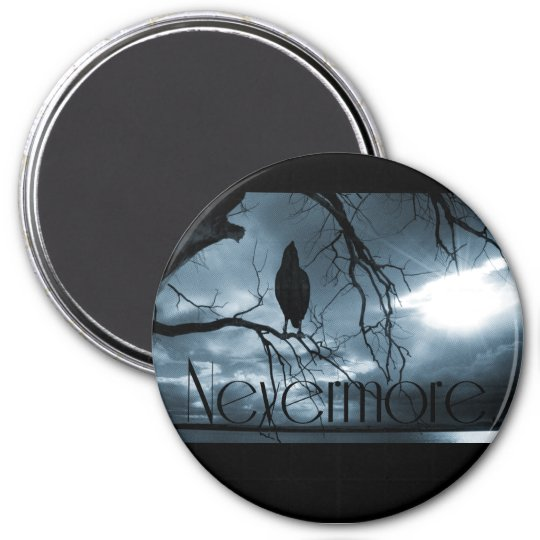The Raven - Nevermore Sunbeams & Tree Blue Magnet