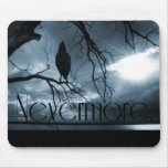 The Raven - Nevermore Sunbeams & Tree Blue Mouse Pad