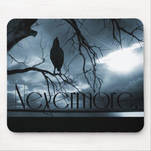 The Raven - Nevermore Sunbeams & Tree Blue Mousepad