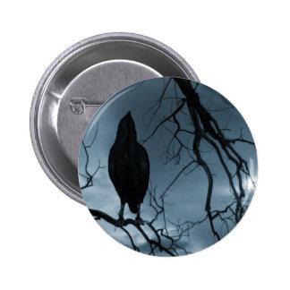 The Raven - Nevermore Sunbeams & Tree Blue Pinback Button
