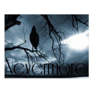 The Raven - Nevermore Sunbeams & Tree Blue Postcard