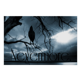 The Raven - Nevermore Sunbeams Tree Blue Posters