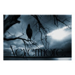 The Raven - Nevermore Sunbeams & Tree Blue Posters