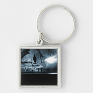 The Raven - Nevermore Sunbeams & Tree Blue Silver-Colored Square Keychain