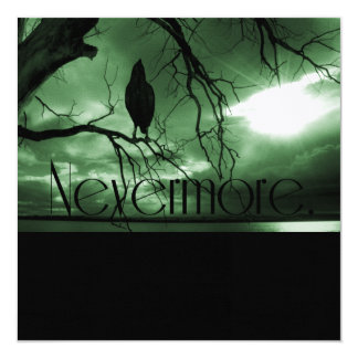 The Raven - Nevermore Sunbeams Tree - Green Personalized Announcement