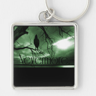 The Raven - Nevermore Sunbeams Tree - Green Silver-Colored Square Keychain
