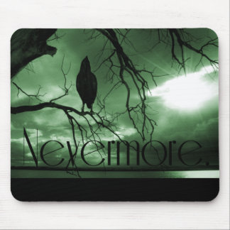 The Raven - Nevermore Sunbeams Tree - Green Mouse Pad