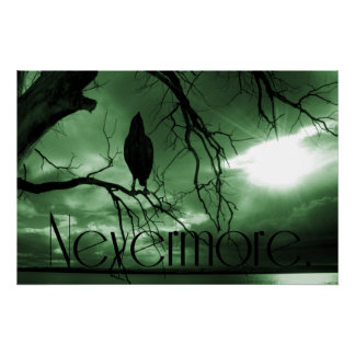 The Raven - Nevermore Sunbeams Tree - Green Poster