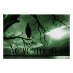 The Raven - Nevermore Sunbeams Tree - Green Print