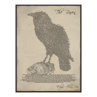 The Raven Poem - Literature Typography Poster