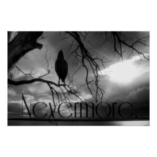 The Raven Poster - Nevermore Sunbeams Tree B&W