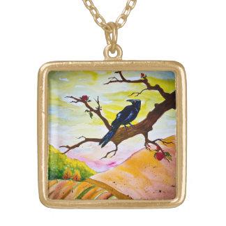 The Ravens Apples Square Pendant Necklace